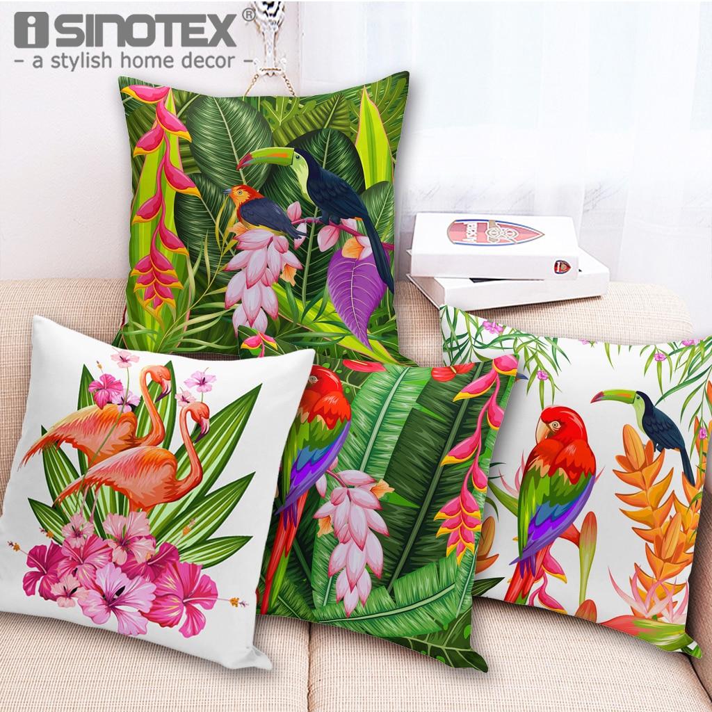 18 Tropical Floral Cushion Cover Vivid Flamingo Printed Cotton Linen Throw Pillowcases Art Decor for Home Sofa Pillow Decor