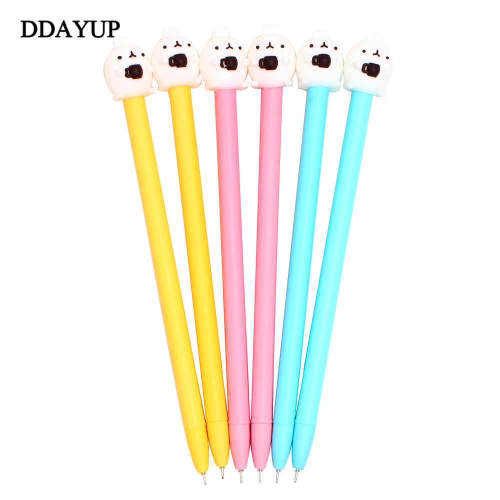 6Pcs/lot Lovely Cartoon Rabbit Novelty Coffee Cup Molang Rabbit Gel Pen Promotional Gift Stationery School Office Supply