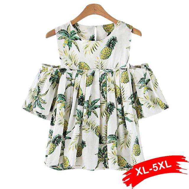 Plus Size Cold Shoulder Ruffles White Blouse Shirts 4XL 5XL Sweet Women Tops Pineapple Print Loose Streetwear Party Tops Blusas