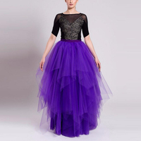 Fantasy Purple Long Skirts Elegant Tiered Multilayers Floor Length Party Skirts Custom Made Bouffant Puffy Maxi Skirts Womens
