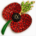 UK Fashion Royal Bright Red Austria Crystal And Back Crystal Poppy Brooch Rememberance Day Gift!!Poppy Flower Pin Brooch