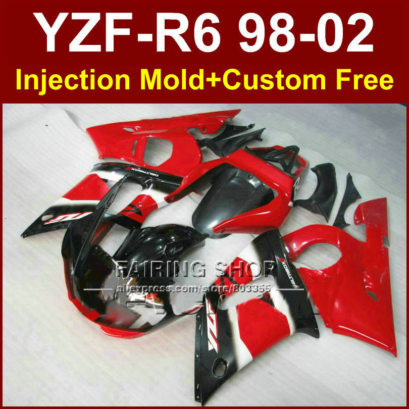 65D6 Red black good fairing set for YAMAHA R6 98 99 00 01 02 YZF R6 fairing kit 1998 1999 2000 2001 2002 fairings parts OD7E