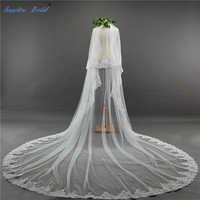 Sapphire Bridal Veil Cathedral Wedding Veils with Blusher Lace Edge