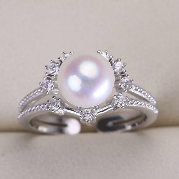 New Design Pearl Ring Setting Mounting Ring Finding Adjustable Ring Jewelry Part Fittings Charm Accessories Silver
