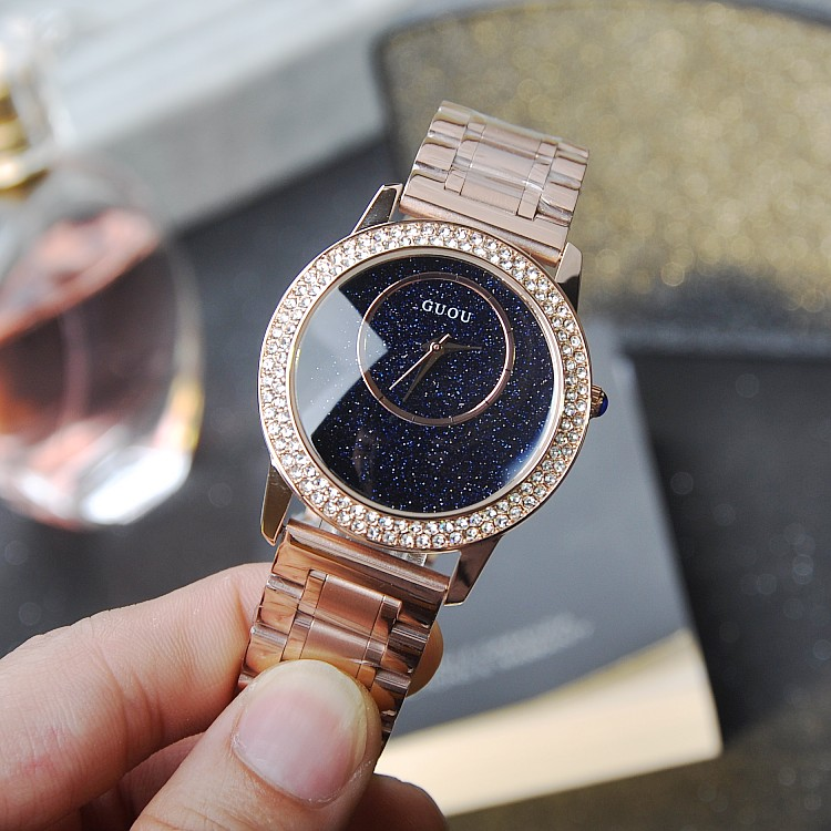 ФОТО Luxury Blue Sandstone Dial Ladies Quartz Watch Stainless Steel Watches Female Rose Gold Special Wristwatch Relojes Mujer OP001