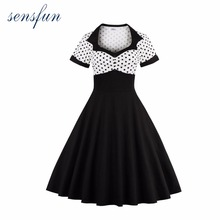 Sensfun Summer Dress Women Cotton Audrey Hepburn Rockabilly 50s 60s Vintage Dress Vestidos Retra Casual Party Dresses Sundress