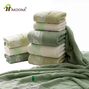 HAKOONA Green Tea Embroidered Leaves Towels for Adults 80*40cm 100% Cotton Bathing Shower Towels Big Face Bathroom Towels