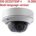 Multi-idioma versão DS-2CD2755F-I 5MP WDR foco Fixo Câmera de Rede Dome Suporte H.265, IP67, IK10, IR 30 M