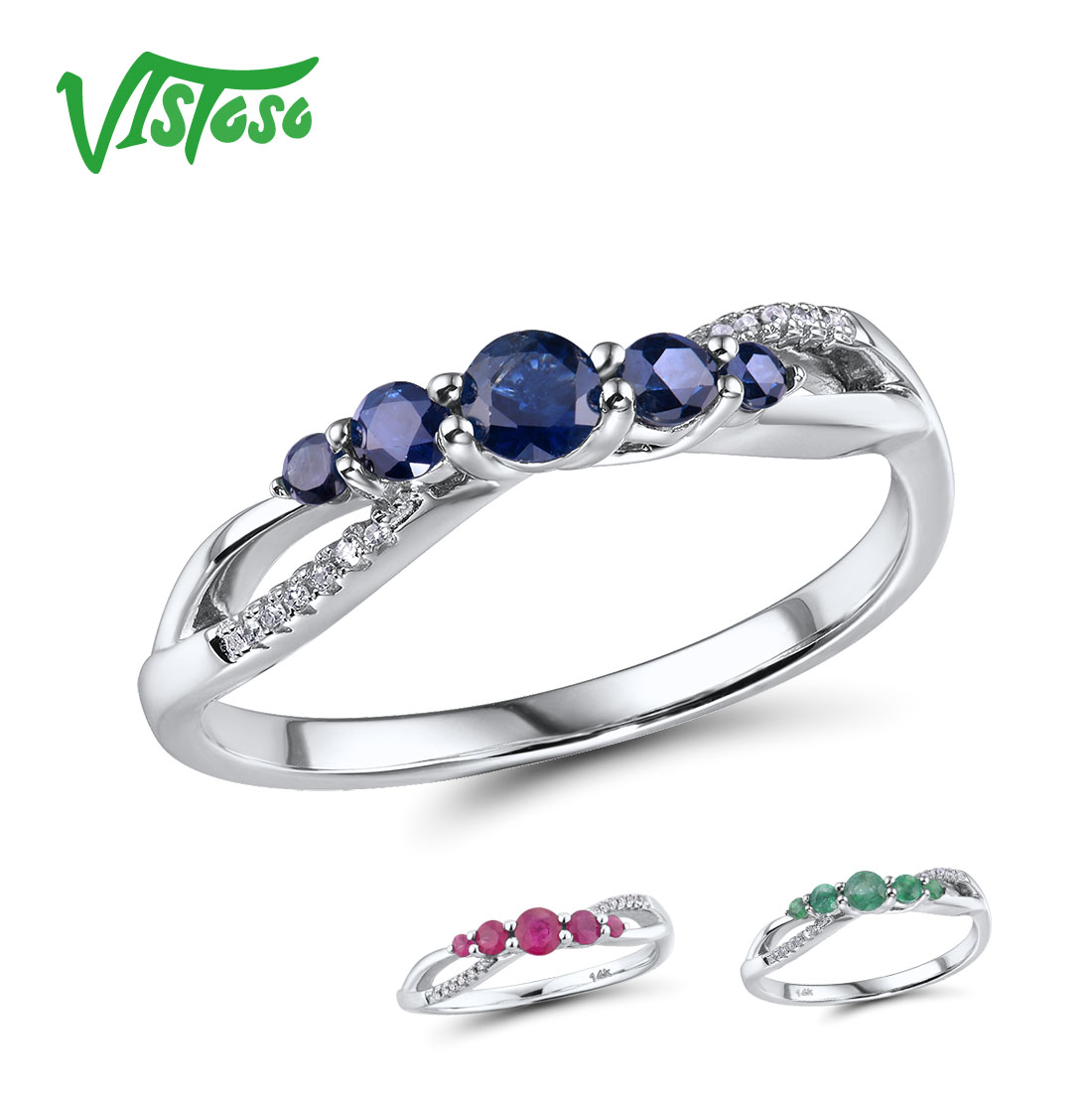 VISTOSO 14K Rose Gold Rings For Lady Genuine Shiny Diamond Fancy Sapphire/Ruby/Emerald Engagement Anniversary Chic Fine Jewelry