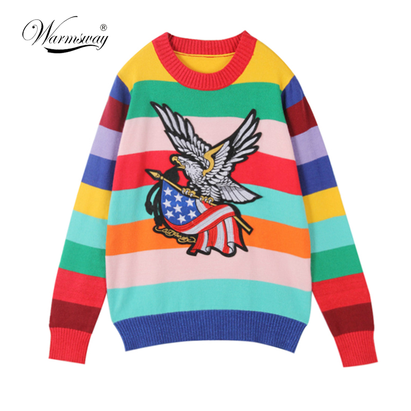 Women Sweater Pullover Knitted Tops Rainbow Color striped Eagle Embroidery Jumper Sweaters Autumn Winter C-043