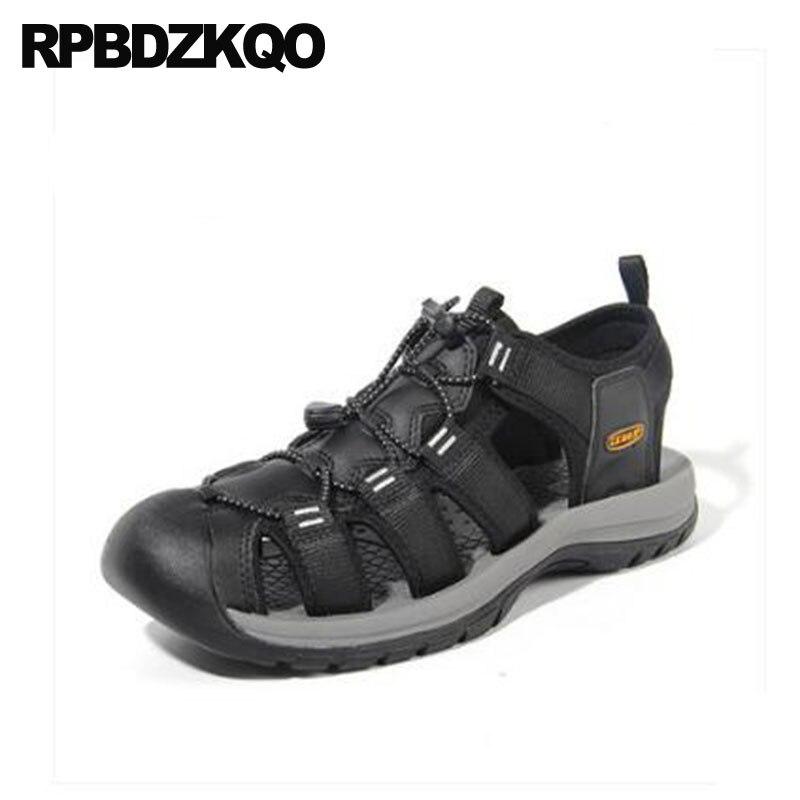 De Luxe respirant Sangle Baskets Sandales D'eau Noir Sport Chaussures Hommes Haute Qualité décontracté Extérieur Clos Bout Natif