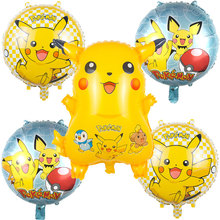 5pcs/set Cartoon Pikachu Pokemon Go Foil Balloons Children I