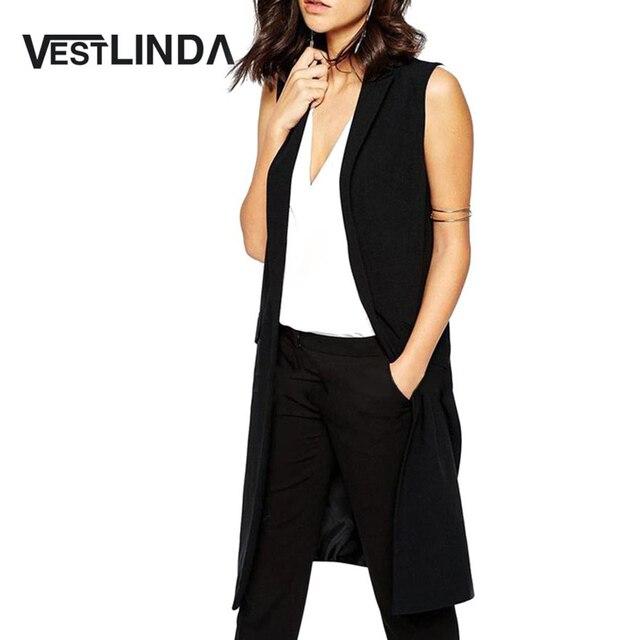 VESTLINDA Vest Women Elegant Waistcoat Lapel Collar Sleeveless Long Vest Pocket Blazer Coat Black Long Open Stitch Fashion Vest
