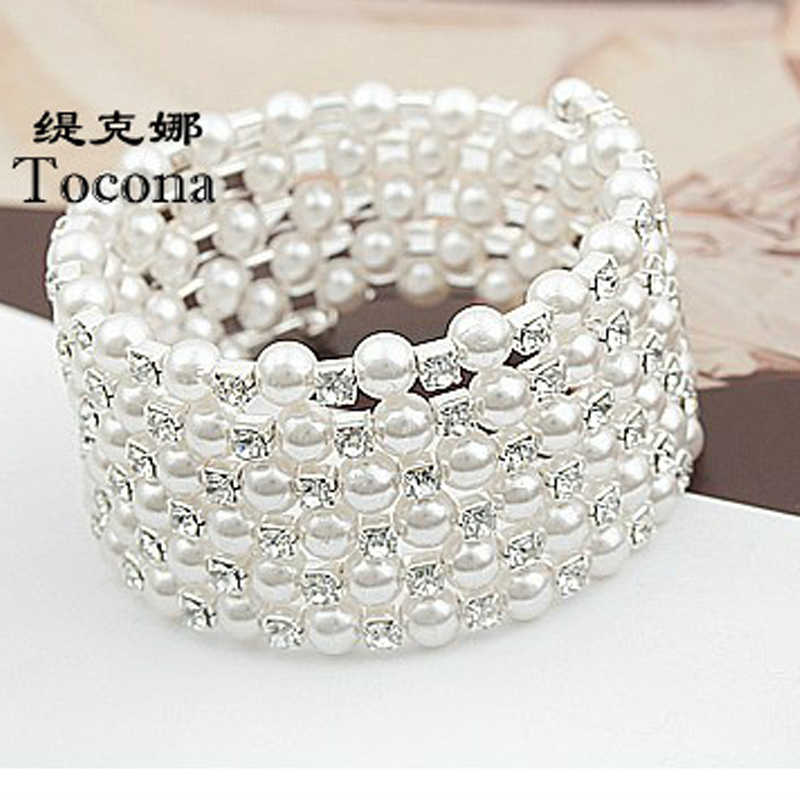 Tocona Silver Color Full Rhinestone Simulated Pearl Bracelets Multilayer Wendding Wide Bangles Jewelry for Women 5519