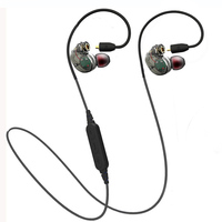 Double Cables Plugable Sport Music Wireless Bluetooth Earphone Headphones Sweatproof Stereo Super Bass Headset for phone