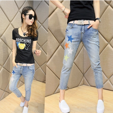 2016 new Korean women fashion stars embroidered thin feet Haren pants pants nine factory outlets