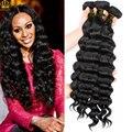 Pelo Malasio de la onda profunda 4 Bundles lote Mocha Hair Company suelta profunda/onda natural/más ondulado pelo de la virgen pelo malasio de la virgen