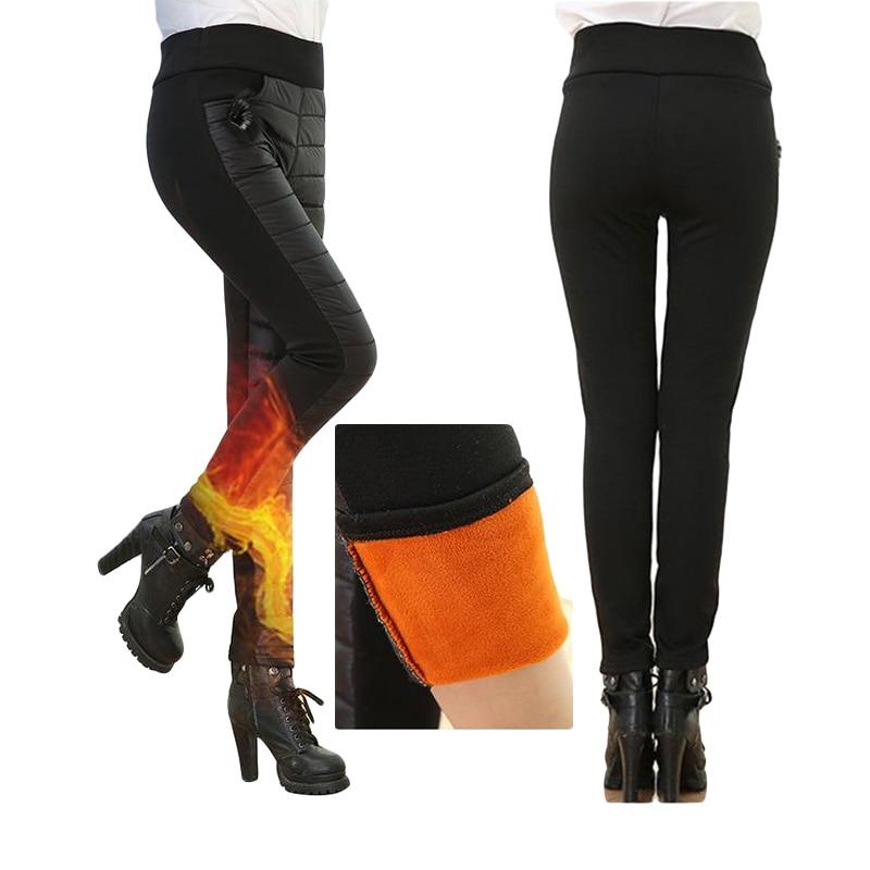Thicken down Cotton Winter Warm Pants Women Elastic Waist Ladies Skinny Trousers Women's Casual Leggings Outwear Female Pants 3