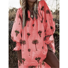 2019 Plus Size S-5XL Summer Dress Casual Floral Print V-neck Lantern Sleeve Dress Loose Long Sleeve Pullover Dress for Women plus flower applique lantern sleeve dress