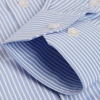 Для мужчин с длинным рукавом синий/белый Pin-код-платье в полоску рубашка с левый нагрудный карман Regular-fit формальные Бизнес офисные футболка