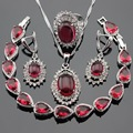 Silver Color Jewelry Sets Red Created Ruby White CZ Necklace Pendant Bracelets Earrings Rings For Women Free Gift Box