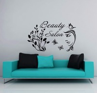 Hair Nail Beauty Salon Wall Vinyl Decal Girl Flower Butterfly Beauty Salon Lettering Wall Sticker Hair Salon Room Decoration