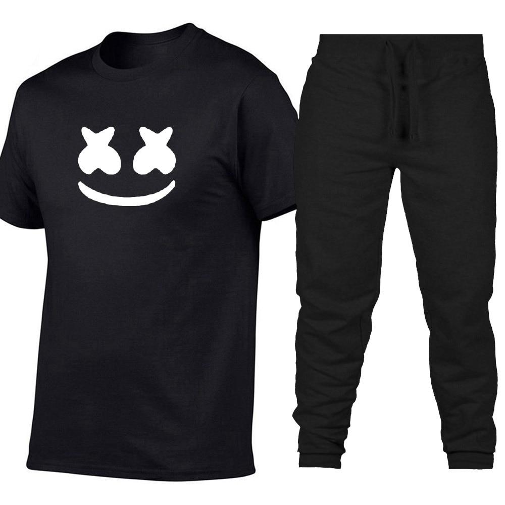 100% Vero Estate Nuovo 2019 Casuali Di Sport T-shirt Di Cotone + Pantaloni Degli Uomini Di Qualità Di Una Coppia Di Stampa Abbigliamento Sportivo Volto Sorridente T-shirt A Due Pezzi