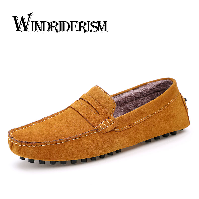 WINDRIDERISM Men Loafers 2017 Winter Flats Shoes Classical Suede Leather Casual Shoes for Mens Solid Color Slip On Driving Shoes black suede loafers for male plus size 38 47 casual mens footwear driving flats loafers suede leather flats slip on shoes mens