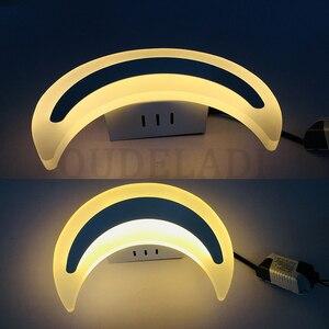 Image 5 - Modern Minimalist LED ay duvar lambaları oturma odası balkon merdiven koridor koridor yatak odası akrilik aydınlatma armatürü