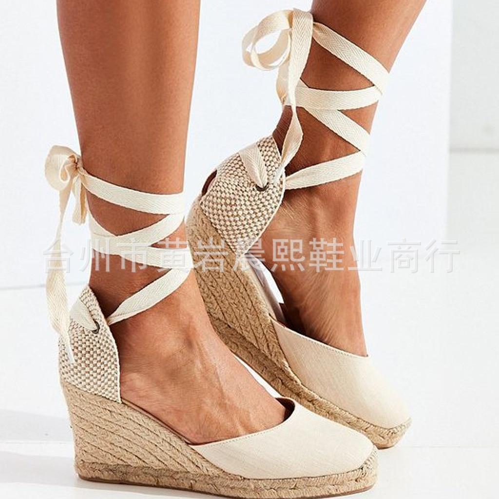 HTB1AnnNNmzqK1RjSZFLq6An2XXa6 Women's Espadrille Ankle Strap Sandals Comfortable Slippers Ladies Womens Casual Shoes Breathable Flax Hemp Canvas Pumps