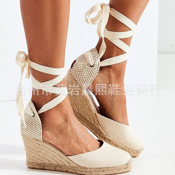 Women's Espadrille Ankle Strap Sandals Comfortable Slippers Ladies Womens Casual Shoes Breathable Flax Hemp Canvas Pumps 1