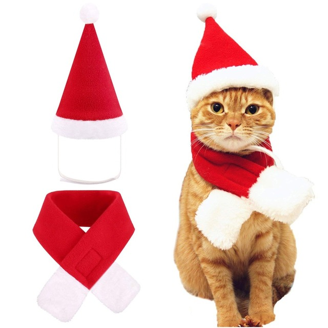 2ef2089a48 Dog Cat Caps Pet Santa Hat Birthday Scarf and Collar Bow Tie Christmas  Costume for Puppy Kitten Small Cats Dogs Pets Accessories