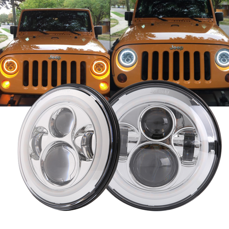 For Lada 4x4 Urban Niva 7 Inch H4 40W LED Headlights lights Lamp With Angle Eyes 7 Round Headlamp For Jeep Wrangler Defender