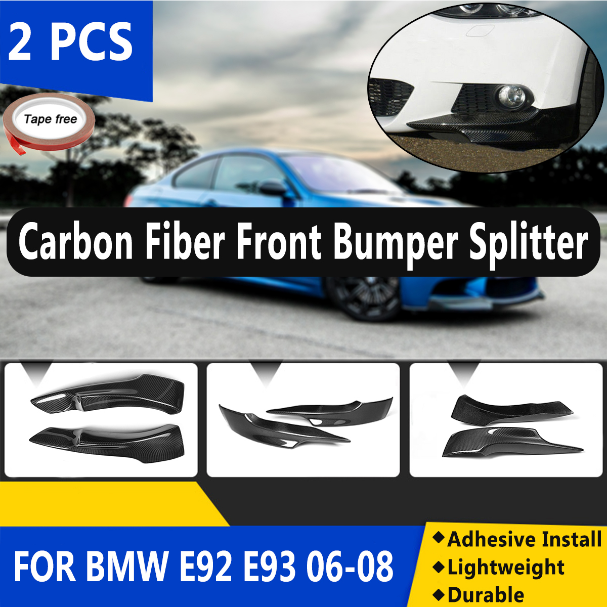 2PCS Carbon Fiber M Sport Front Bumper Side Splitter Diffuser Lip for BMW E92 E93 2006 2007 2008 PRE-LCI M-Tech