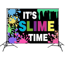 HUAYI Slime Party Backdrop Colorful Graffiti Glow Slime Theme Fiesta 1st Birthday Party Baby Shower Decoration Background w-2167(China)