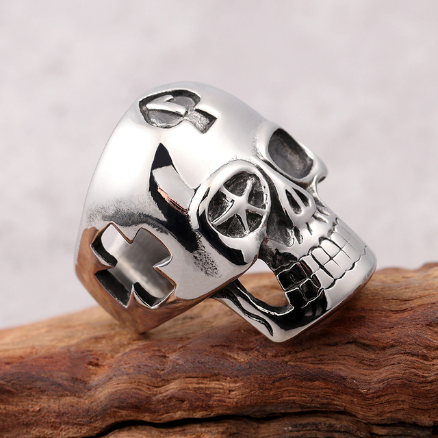 STAINLESS STEEL HOLLOW OUT CROSS SKULL RING