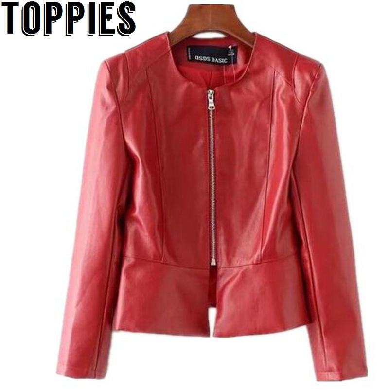 2019 Autumn And Winter Women Red Color PU   Leather   Jackets O-neck Zipper Faux   Leather   Coat Slim Tunic PU Coat