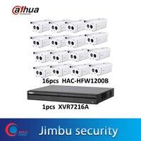 DaHua cctv kit HDCVI surveillance system 16ch XVR7216A XVR Video Recorder & 16pcs HAC HFW1200B 2MP HDCVI bullet camera CCTV kit