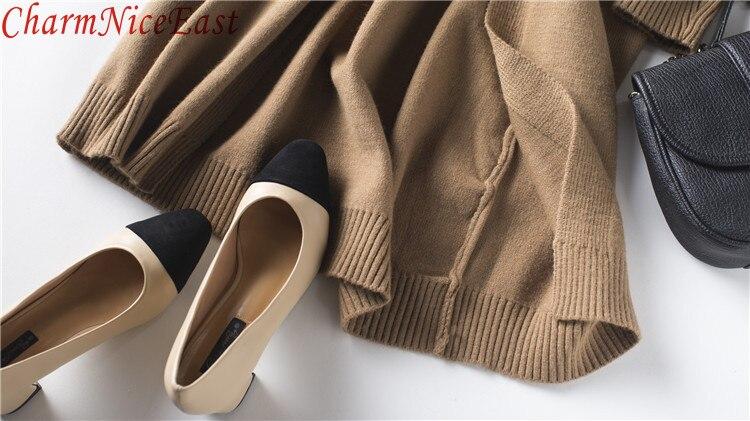 Long Chandails dark Longues Femme Gray Cardigan brown À Tricoté Poches Longue Pull Épais Chandail Manteaux Mode Gray Light Lâche Femmes Manches D'hiver RwxOqR4p7