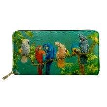 Twoheartsgirl Parrot Llama Sloth Print Leather Wallet for Women Trendy Fashion Female Ladies Credit Card Holder Purse Money Bags