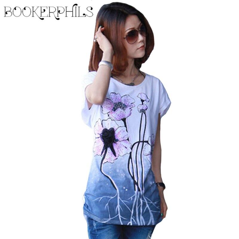 2018 Lotus Print Plus méretű nyári póló női felső póló rövid ujjú kínai tintafestés stílus nyári alkalmi póló női