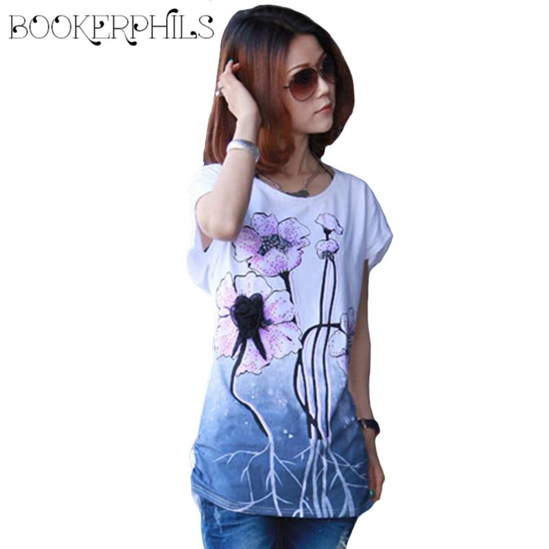 2018 Lotus Print Plus izmēra vasaras T krekls Sieviešu topi - Sieviešu apģērbs - Foto 1