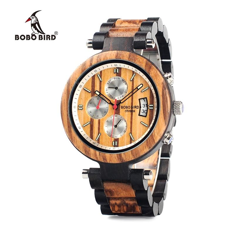 BOBO BIRD WP17 Men Wood Multi-function Ebony Watches Wood Band Fashion Quartz Male Clock Back Cap Custom Watch