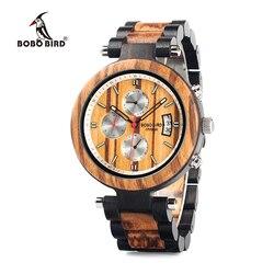 Bobo ptak Wp17 mężczyźni drewna wielofunkcyjny heban zegarki drewna zespół mody mężczyzna zegar kwarcowy z powrotem Cap niestandardowy zegarek