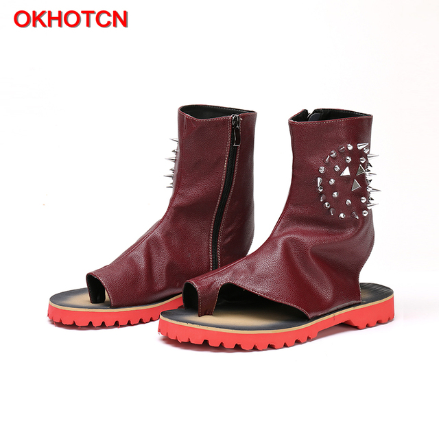 OKHOTCN Fashion Blue Men Summer Sandal Boots Leather Gladiator Rivets  Studded Sandalias Hombres Mens Beach Shoes