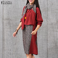 ZANZEA Women Vintage Knee Length Dress 2016 Autumn Female Casual Loose Long Sleeve Splicing Pockets Oversized Dresses Scarf