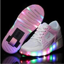 2016 Men Boys Adults Roller Shoes Heelys Women Girls Led Lighted Shoes With Wheels Zapatillas Con Ruedas Automatic Skating Shoes