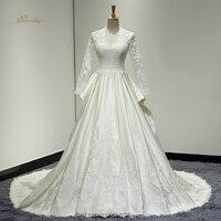 Dream Angel Luxury Long Sleeve Lace Vintage Wedding Dresses 2018 Appliques Matte Satin Bride Gowns Vestido