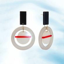 Summer Fashion Style Ear Jewelry Big Acrylic Circular Drop Earrings For Women Female Birthday Gift Jewelry Accessories