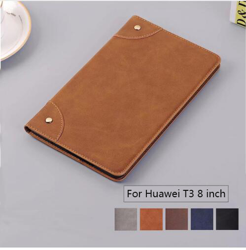"Retro Matte Case For Huawei MediaPad T3 8.0"" KOB L09 KOB W09 Cover For Honor Play Pad 2 8.0 inch Funda Retro Style PU Skin Case